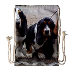 3 Basset Hound Puppies Drawstring Bag (Large)