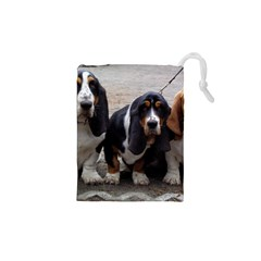 3 Basset Hound Puppies Drawstring Pouches (XS)