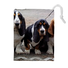 3 Basset Hound Puppies Drawstring Pouches (Extra Large)