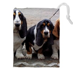 3 Basset Hound Puppies Drawstring Pouches (XXL)
