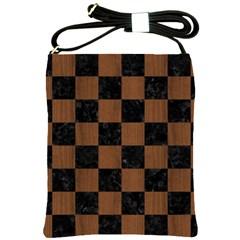 SQR1 BK-MRBL BR-WOOD Shoulder Sling Bags
