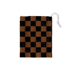 Square1 Black Marble & Brown Wood Drawstring Pouch (small)