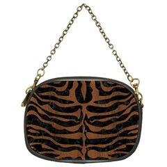 Skn2 Bk Mrbl Br Wood Chain Purses (two Sides)