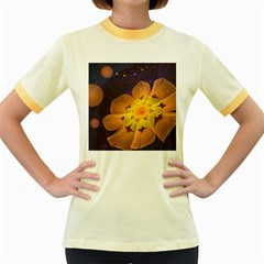 Beautiful Violet & Peach Primrose Fractal Flowers Women s Fitted Ringer T-Shirts