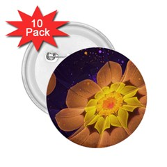 Beautiful Violet & Peach Primrose Fractal Flowers 2 25  Buttons (10 Pack)