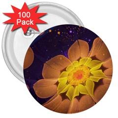 Beautiful Violet & Peach Primrose Fractal Flowers 3  Buttons (100 pack)