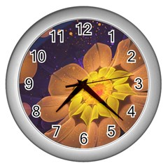 Beautiful Violet & Peach Primrose Fractal Flowers Wall Clocks (silver)