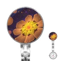 Beautiful Violet & Peach Primrose Fractal Flowers Stainless Steel Nurses Watch