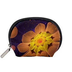 Beautiful Violet & Peach Primrose Fractal Flowers Accessory Pouches (small)