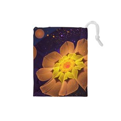 Beautiful Violet & Peach Primrose Fractal Flowers Drawstring Pouches (small)