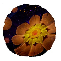 Beautiful Violet & Peach Primrose Fractal Flowers Large 18  Premium Flano Round Cushions