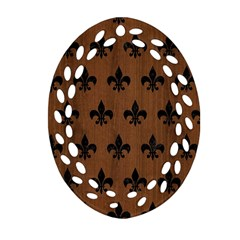 RYL1 BK-MRBL BR-WOOD Oval Filigree Ornament (Two Sides)