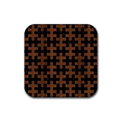 Puzzle1 Black Marble & Brown Wood Rubber Coaster (square)