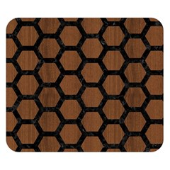 Hexagon2 Black Marble & Brown Wood (r) Double Sided Flano Blanket (small)