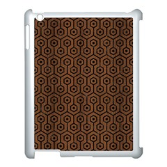 Hexagon1 Black Marble & Brown Wood (r) Apple Ipad 3/4 Case (white)