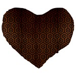 HEXAGON1 BLACK MARBLE & BROWN WOOD (R) Large 19  Premium Flano Heart Shape Cushion Front