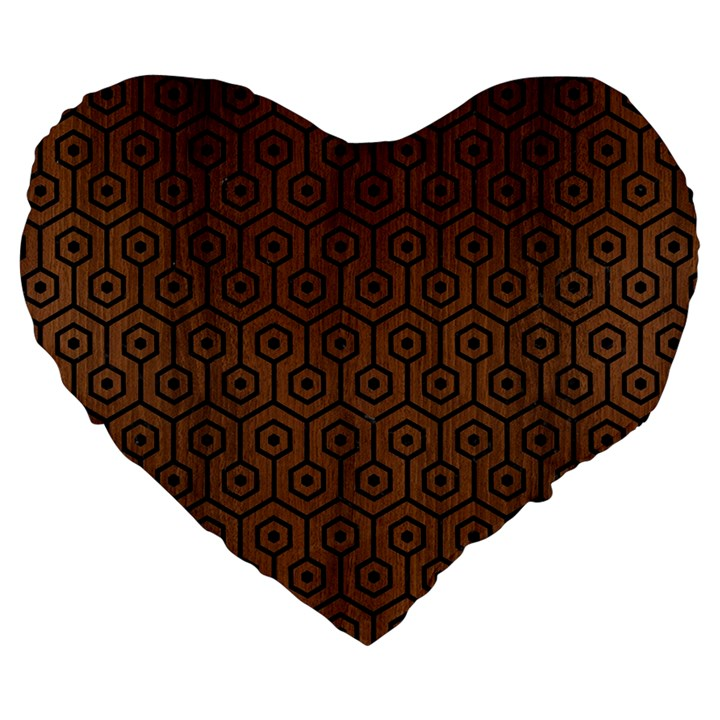 HEXAGON1 BLACK MARBLE & BROWN WOOD (R) Large 19  Premium Flano Heart Shape Cushion