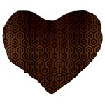 HEXAGON1 BLACK MARBLE & BROWN WOOD (R) Large 19  Premium Flano Heart Shape Cushion Back