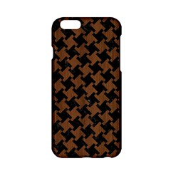 Houndstooth2 Black Marble & Brown Wood Apple Iphone 6/6s Hardshell Case