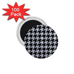 Houndstooth1 Black Marble & Brown Wood 1 75  Magnet (100 Pack)
