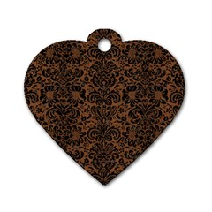 Damask2 Black Marble & Brown Wood (r) Dog Tag Heart (two Sides)