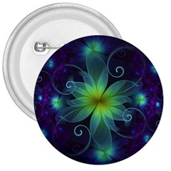 Blue And Green Fractal Flower Of A Stargazer Lily 3  Buttons