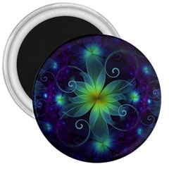 Blue And Green Fractal Flower Of A Stargazer Lily 3  Magnets