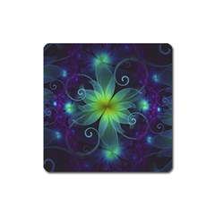 Blue and Green Fractal Flower of a Stargazer Lily Square Magnet