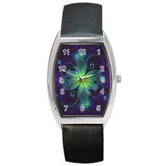 Blue and Green Fractal Flower of a Stargazer Lily Barrel Style Metal Watch