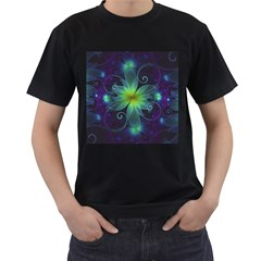 Blue and Green Fractal Flower of a Stargazer Lily Men s T-Shirt (Black) (Two Sided)