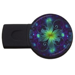 Blue and Green Fractal Flower of a Stargazer Lily USB Flash Drive Round (4 GB)