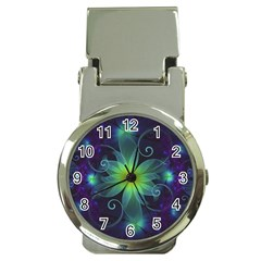 Blue And Green Fractal Flower Of A Stargazer Lily Money Clip Watches