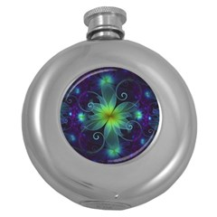Blue and Green Fractal Flower of a Stargazer Lily Round Hip Flask (5 oz)