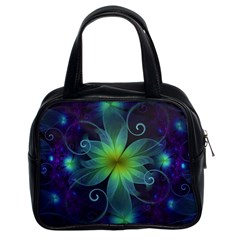 Blue and Green Fractal Flower of a Stargazer Lily Classic Handbags (2 Sides)