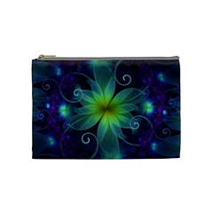 Blue And Green Fractal Flower Of A Stargazer Lily Cosmetic Bag (medium)