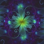 Blue and Green Fractal Flower of a Stargazer Lily Storage Stool 12   Front