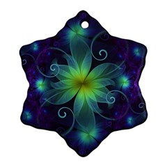Blue And Green Fractal Flower Of A Stargazer Lily Ornament (snowflake)