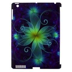 Blue and Green Fractal Flower of a Stargazer Lily Apple iPad 3/4 Hardshell Case (Compatible with Smart Cover)