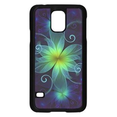 Blue and Green Fractal Flower of a Stargazer Lily Samsung Galaxy S5 Case (Black)