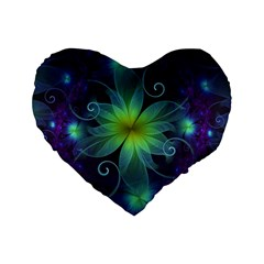 Blue and Green Fractal Flower of a Stargazer Lily Standard 16  Premium Flano Heart Shape Cushions