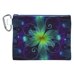Blue and Green Fractal Flower of a Stargazer Lily Canvas Cosmetic Bag (XXL)