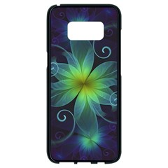 Blue And Green Fractal Flower Of A Stargazer Lily Samsung Galaxy S8 Black Seamless Case