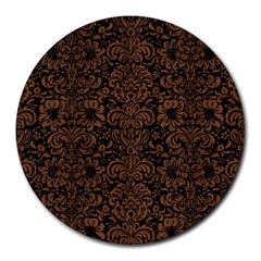 Dms2 Bk Mrbl Br Wood Round Mousepads