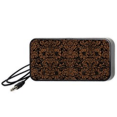 Damask2 Black Marble & Brown Wood Portable Speaker (black)