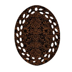 Damask2 Black Marble & Brown Wood Oval Filigree Ornament (two Sides)