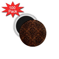 Damask1 Black Marble & Brown Wood (r) 1 75  Magnet (100 Pack)