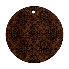 DMS1 BK-MRBL BR-WOOD (R) Round Ornament (Two Sides)