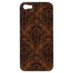 Damask1 Black Marble & Brown Wood (r) Apple Iphone 5 Hardshell Case