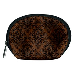 Damask1 Black Marble & Brown Wood (r) Accessory Pouch (medium)