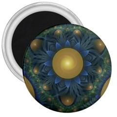 Beautiful Orange & Blue Fractal Sunflower Of Egypt 3  Magnets